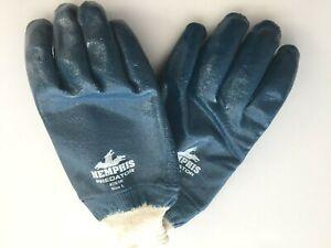 1 pair coated nitrile work gloves Memphis Predator mens L womens XL blue lined