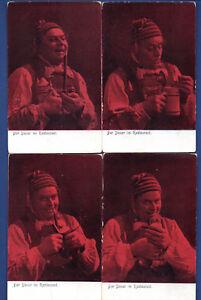 Hombre-Pipa-para-Fumar-y-Toby-Jarro-Lote-de-4-Vintage-Tarjeta-Postal-897
