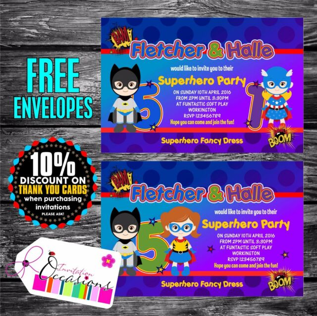 Personalised Birthday Invitations Superhero Boy Girl Joint Party X 5 For Sale Online