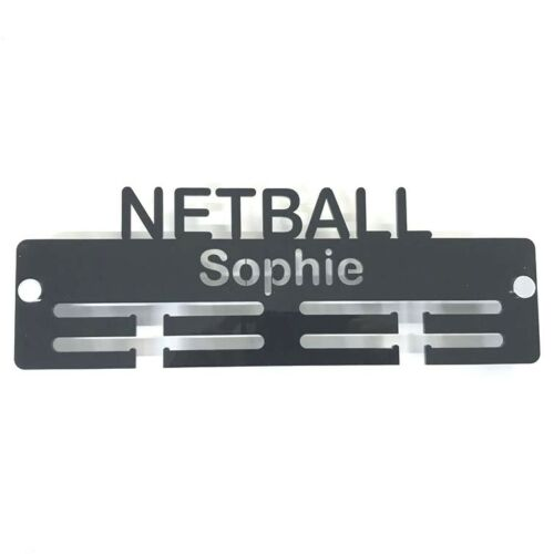 Personalised Netball Medal Hanger - Many Colour Choices - Includes Fixings