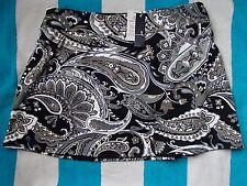 NWT SIZE 4 UPF 50 Black Paisley Swim Skirt Mini  LANDS' END $65 Tummy Control
