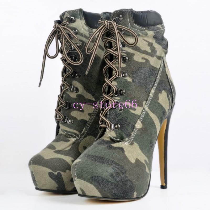 femmes Canvas Camouflage High Heel Lace Up chaussures Riding Knight Ankle bottes 4-12