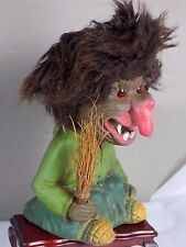 VINTAGE TROLL WITCH BOBBLE HEAD DOLL FIGURE HEICO?  W.BROOM