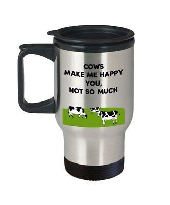 Cows Make Me Happy Travel Mug Funny Tea Hot Cocoa Coffee Insulated Tumbler...