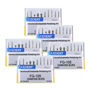 5X Dental Diamond Burs FG-105 for Teeth Porcelain Ceramic Composite Polishing CA