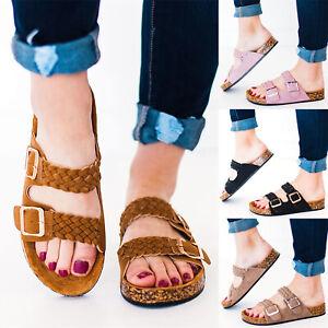 Damen-Sandalen-Schuhe-Pantoletten-Korkoptik-Sommerschuhe-Schlappen-Hausschuhe-41