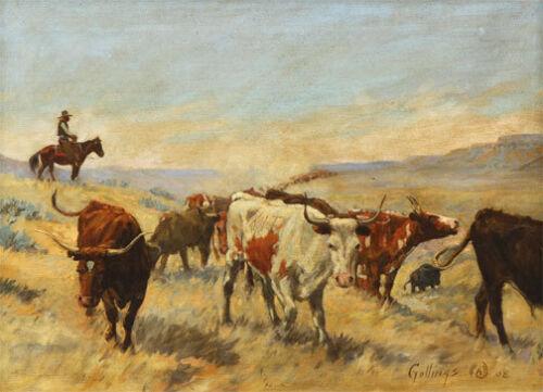 The Roundup 30x44 Art Print Elling William Gollings Western Cowboy