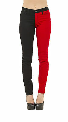 NEW WOMENS SKINNY STRETCH MID RISE RED & BLACK SPLIT LEG  JEANS INDIE RETRO ROCK