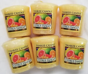 Yankee-Candle-Votives-CITRUS-TANGO-Melts-Lot-of-6-Yellow-New-Fruit-Scented