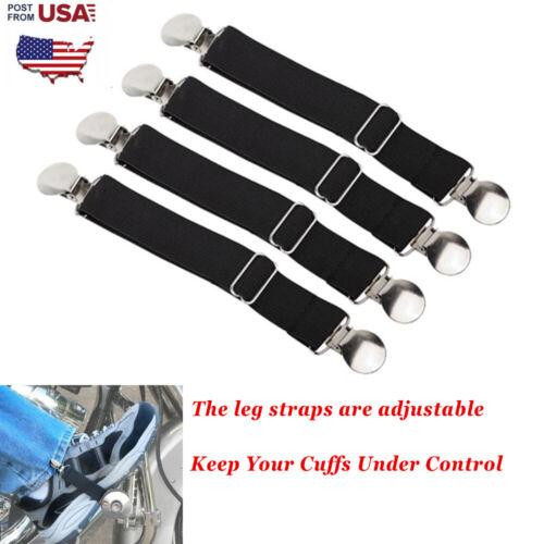2pc//4pc Motorcycle Stirrup Pant Clips Bike Leg Boot Elastic Adjustable Straps