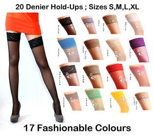 NEW-Lace-Top-20-Denier-Sheer-Hold-Ups-Stockings-17-Various-Colours-Sizes-S-XL