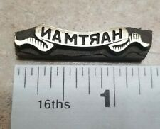 Vintage Letterpress Brass Print Plate Hartman 1 38 X 516