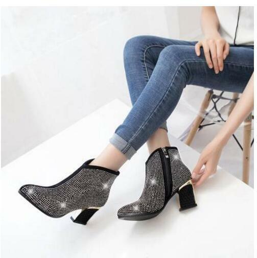 New Occident Fashion Glitter Giamante Ankle Boots Trend  Womens shoes Plus Sz
