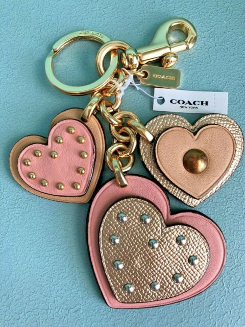 COACH Studded HEART Applique Leather Bag Charm Key Ring Fob F40696 Pink