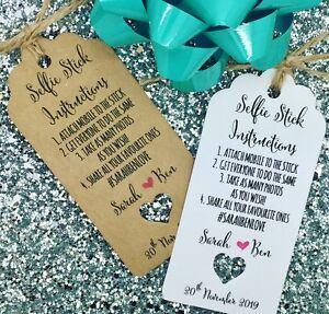 selfie stick instructions gift tags wedding favour guest label ebay. Black Bedroom Furniture Sets. Home Design Ideas