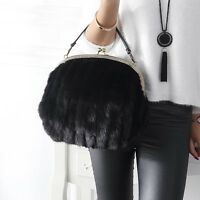 Woman Fashion Mink Fur Vintage Handbag Small Cluntch Elegant Mink Fur Bag Purse