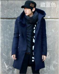 Stylish-Hooded-double-breasted-Mens-Wool-Korean-Winter-Warm-Parka-Coat-Jacket-sz