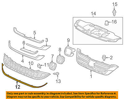 Genuine Honda Parts 71174-SXS-A11 Driver Side Grille Molding Lower