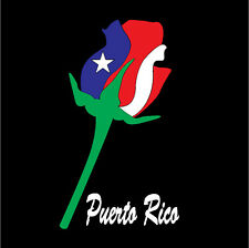 PUERTO RICO CAR DECAL STICKER  ROSE with  FLAG #226