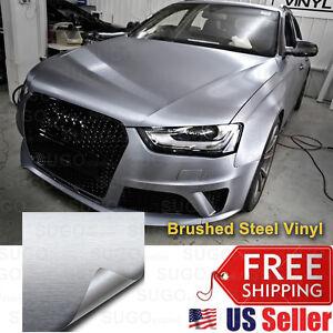 "12/""x60/"" Silver Brushed Aluminum Vinyl Wrap Film Car DIY Sticker Air Release"