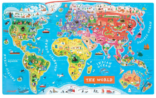 Janod World Map.Janod Wooden Magnetic World Map Puzzle English Version 92 For Sale