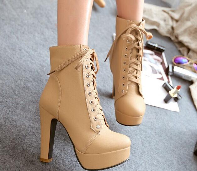botas invierno marrón zapatos de tacón mujer 11 cm como piel 8784