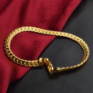 Luxury-18K-Gold-Plated-Flat-Curb-Chain-Men-039-s-Bracelet-Wristband-Bangle-Jewelry