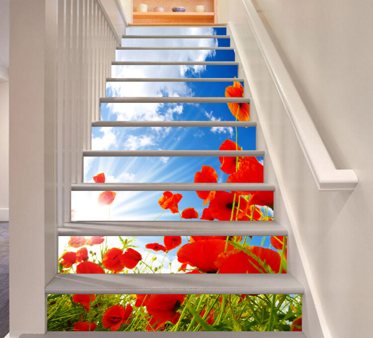 3D rouge flowers sun Stair Risers Decoration Photo Mural Vinyl Decal Wallpaper AU