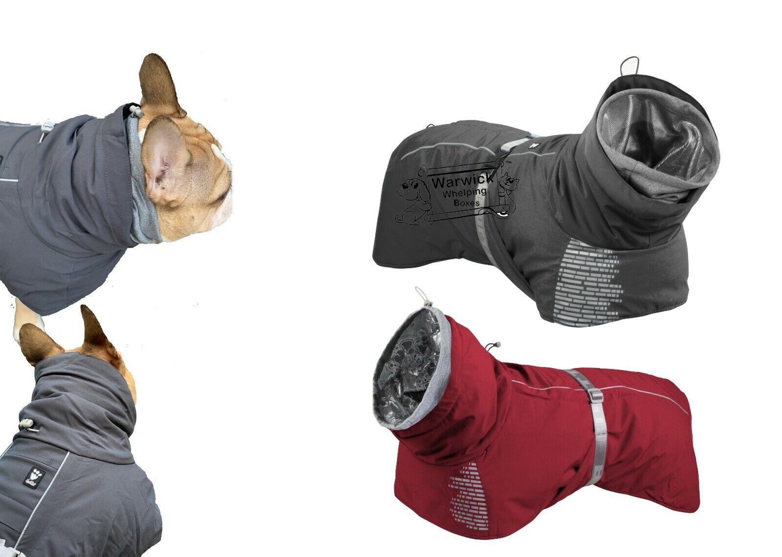 Hurtta Extreme Dog Coat Warmer & Hood Water resistant Granite Grey or Lingon Red