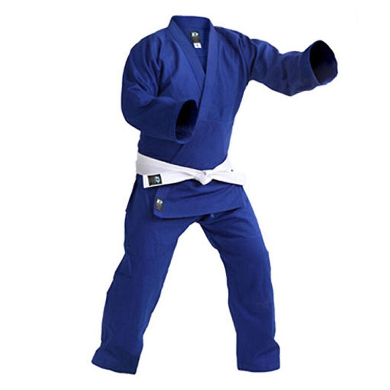 Judo Ultimate Double Weave Preshrunk Uniform Dobok Gi Adult Kid Jiu Jitsu bluee