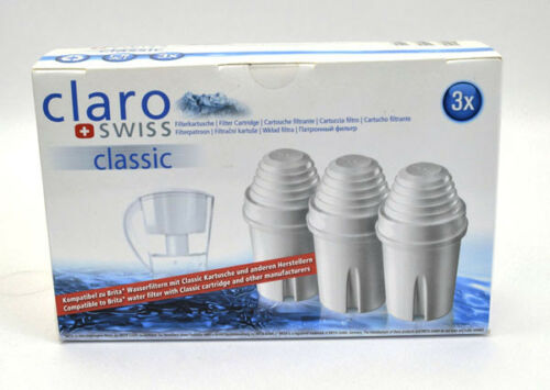 Claro swiss classic Filterkartuschen 3 St für Wasserfilter kompatibel zu Brita