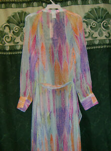 New-Esley-Boho-Colorful-Chiffon-Western-Maxi-Duster-Swag-Belted-Cover-up-S-M