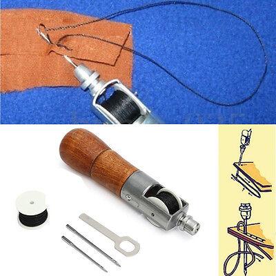 1 Set Leather Craft Automatic Lock Stitching Sewing Awl Kit w/ 2 Needles
