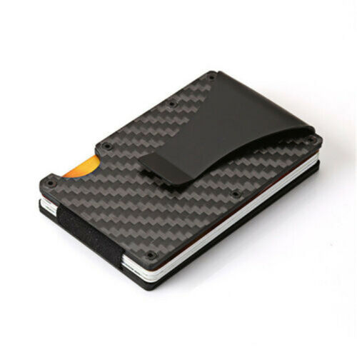 Portable Universal Mens Metal Wallet Real Carbon Fiber Money Clip Card Holder YG