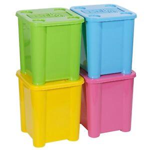 Set-4-Kunststoff-Stapelbar-Bunte-Aufbewahrungsboxen-mit-Deckeln-Robust-Behaelter