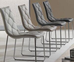 4 sedie soggiorno ufficio poltrona ecopelle metallo for Sedie design metallo