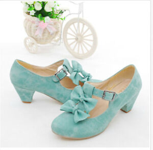 New-Spring-Womens-Mary-jane-Lolita-Bowtie-Court-Pumps-Faux-Suede-Shoes-Plus-Size