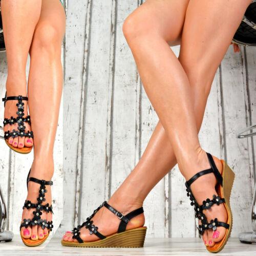 NEU Damen Schuhe Plateau Wedges Sandalen Riemchen Keilabsatz Peep-Toes Glitzer