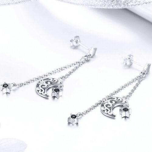 Moda Moon Stars 925 Gota de Plata Pendientes Colgantes Con CZ Mujer Aretes Regalo