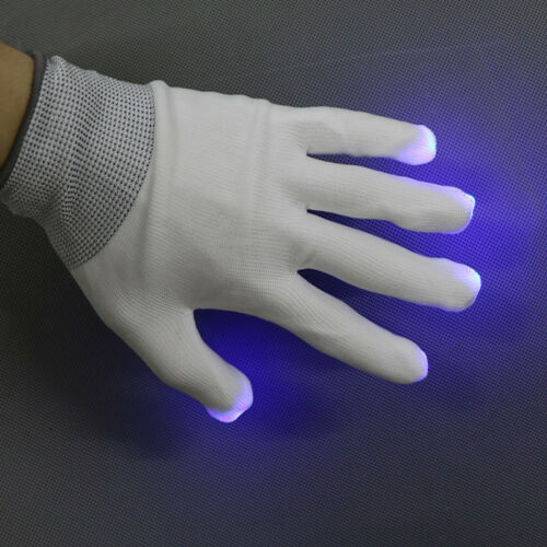 Kids Size LED Rave Flashing Gloves Glow Light Up Finger Lighting Xmas Party Show