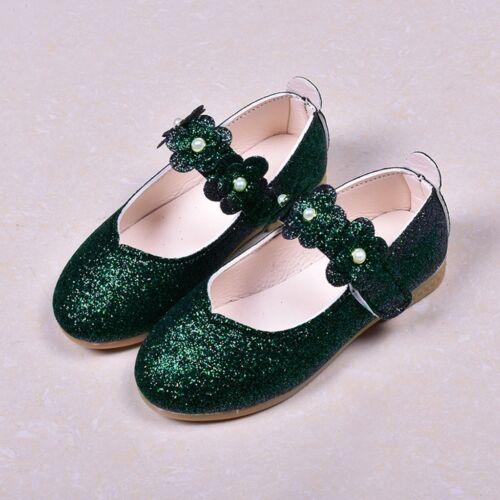 Children Kid Baby Girls Student Solid Flower Bling Single Dance Princess Shoes