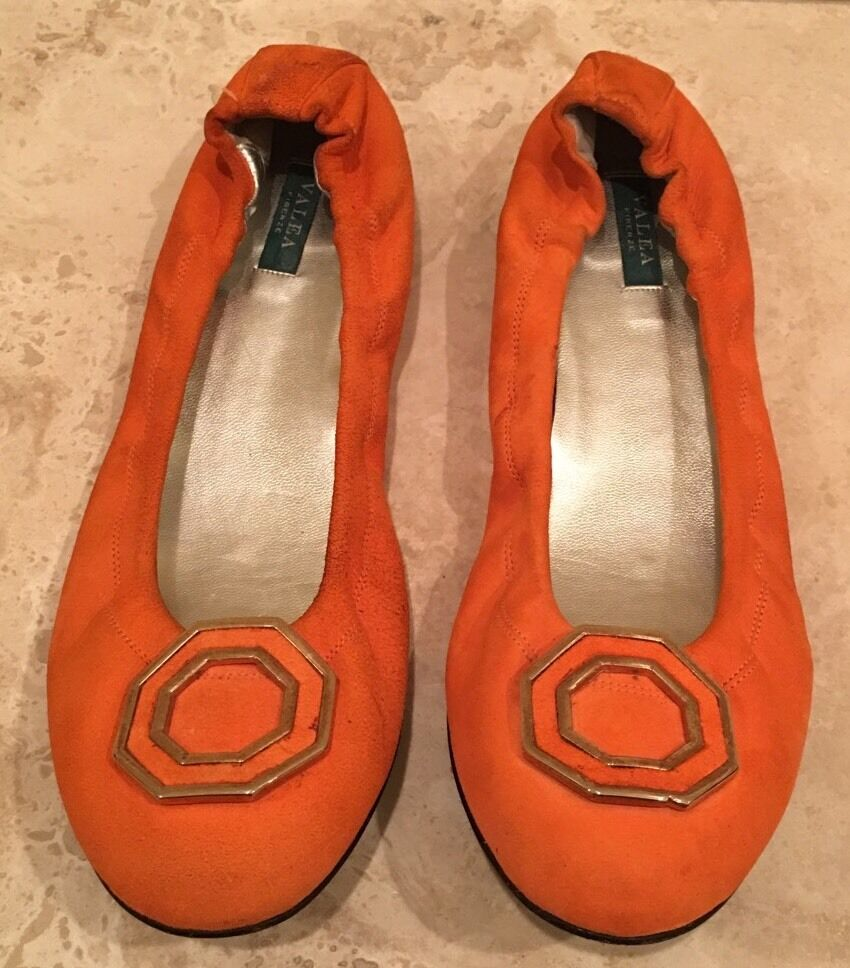 VALEA Orange Suede Leather Ballet Flats Gold Geometric Detail EU39 8.5M Italy!