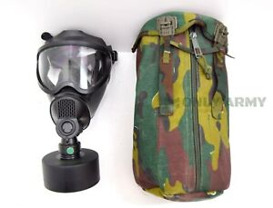 0941a382eb Belgian Army Sniper Gas Mask BEM-4GP Complete Set Black Rubber Face ...