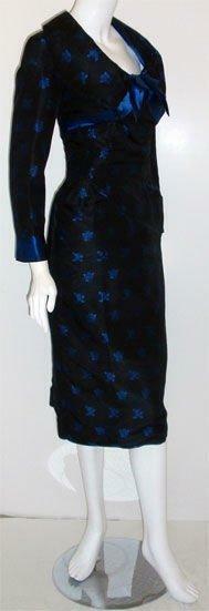 CEIL CHAPMAN 1960s Black and Blue Silk Cocktail D… - image 5
