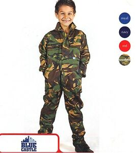 Kids-Boy-Girls-Junior-Tearaway-Boilersuits-Camouflage-Overall-Coverall