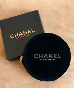 143eb87a6b9a New CHANEL BEAUTE Black Nuit Byzantine Round Makeup Cosmetic Bag New ...