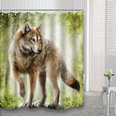 Wild Animals Safari in Fantasy Forest Wolf Fabric Shower Curtain for Bathroom