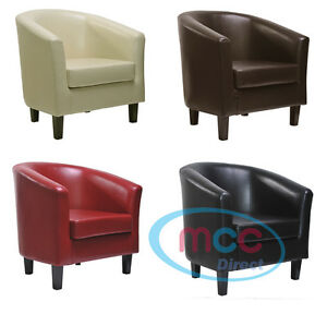 Image Is Loading MCC Faux Leather Tub Chair Armchair Club Chair