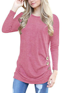 f3e81a5a780 Women Casual Long Sleeve Round Neck Loose Tunic Top Blouse T-Shirt ...