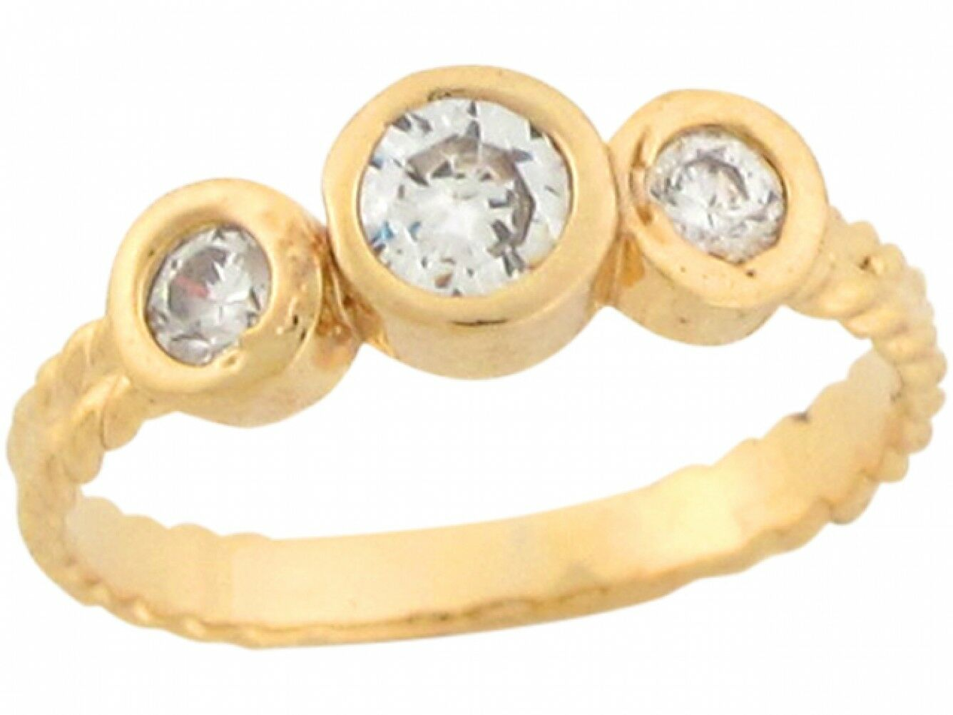 10k or 14k Yellow Real gold Round White CZ Cute Girls Fashionable Baby Ring